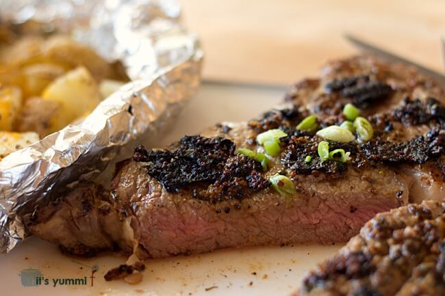 Mustard Peppercorn Rubbed Rib Eye Steak - Get the recipe on itsyummi.com