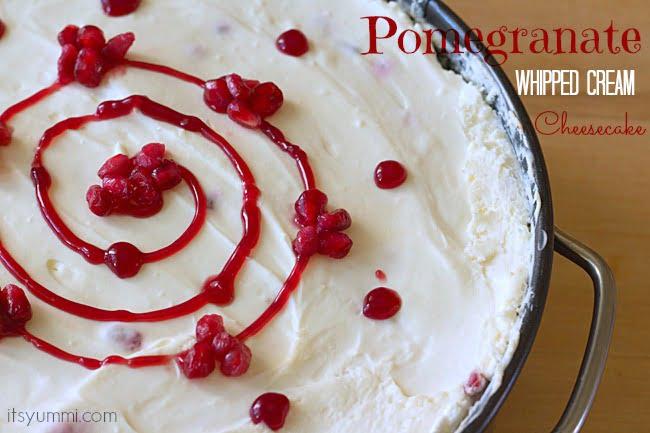 Pomegranate Whipped Cream Cheesecake from ItsYummi.com
