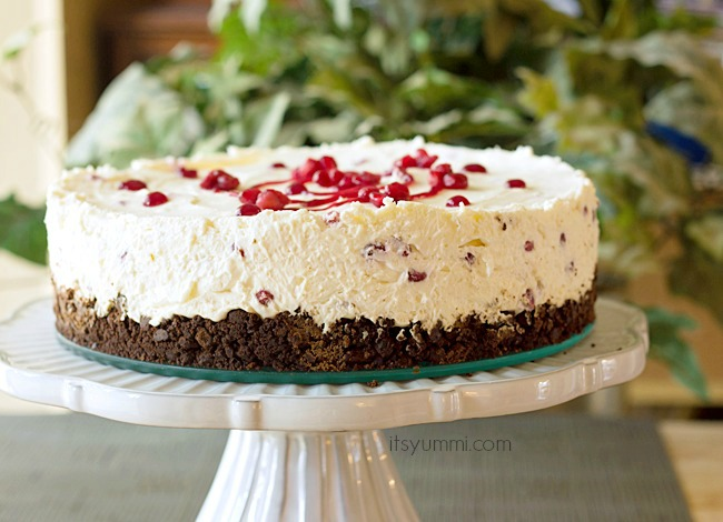 Pomegranate No Bake Whipped Cream Cheesecake