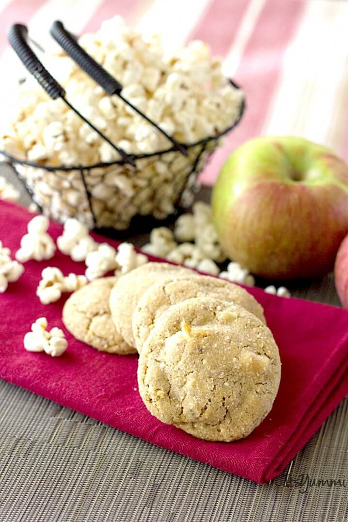 Salted Caramel Apple Popcorn Cookies - They're a cross between a caramel apple and buttered popcorn. Get the recipe on ItsYummi.com
