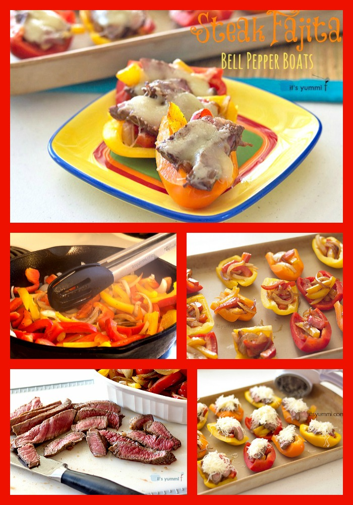 Steak Fajita Bell Pepper Boats from ItsYummi are the perfect party appetizer