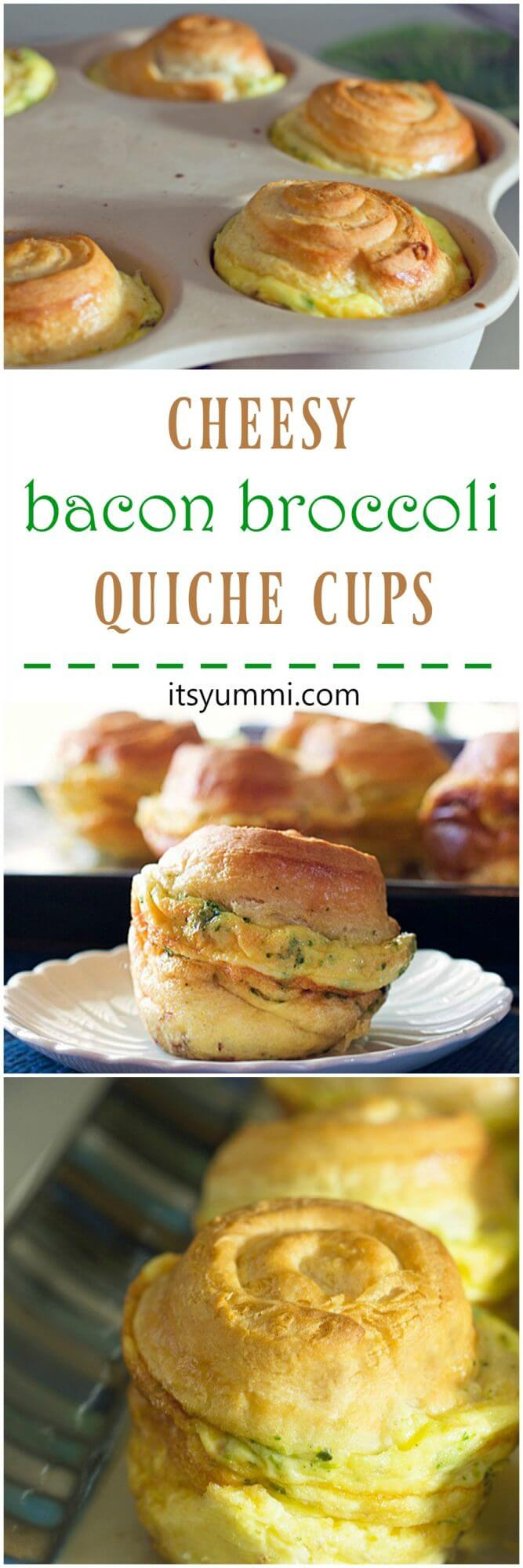 Cheesy Bacon Broccoli Quiche Crescent Cups from ItsYummi.com ~ Fluffy eggs, veggies and Kerrygold cheese are baked up inside of crescent rolls! YUM!