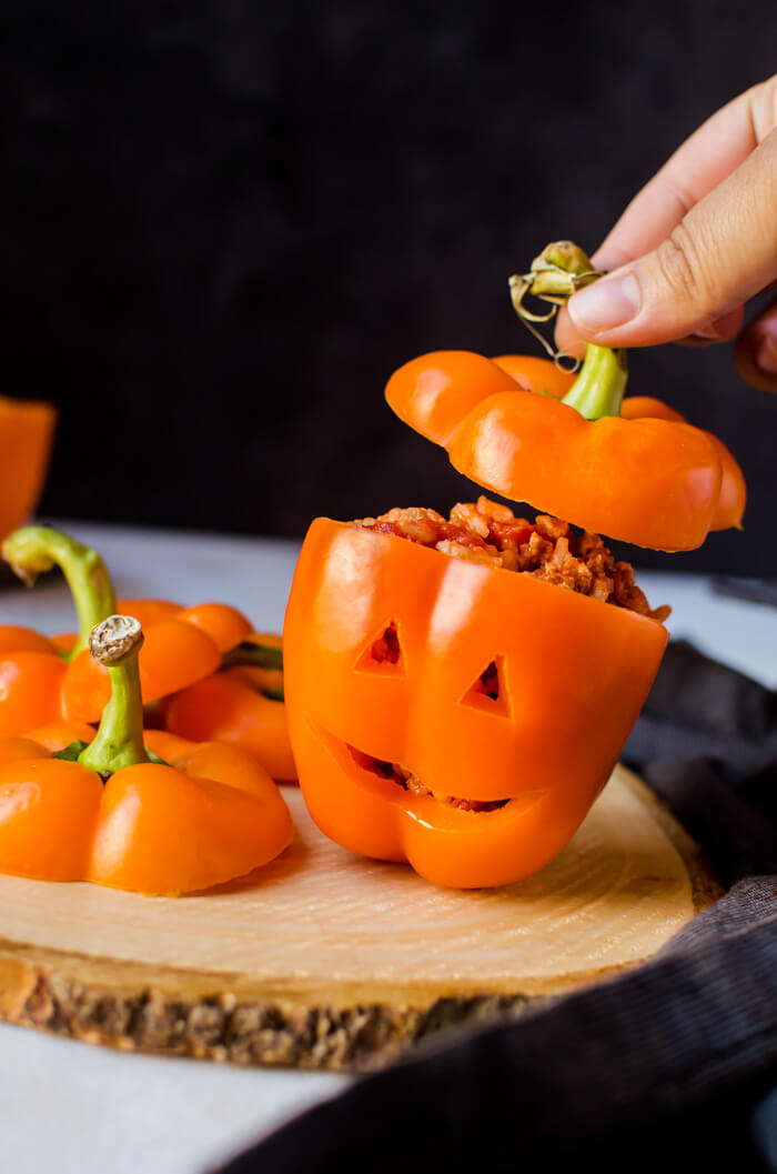 Jack-o-Lantern Halloween Stuffed Bell Pepper