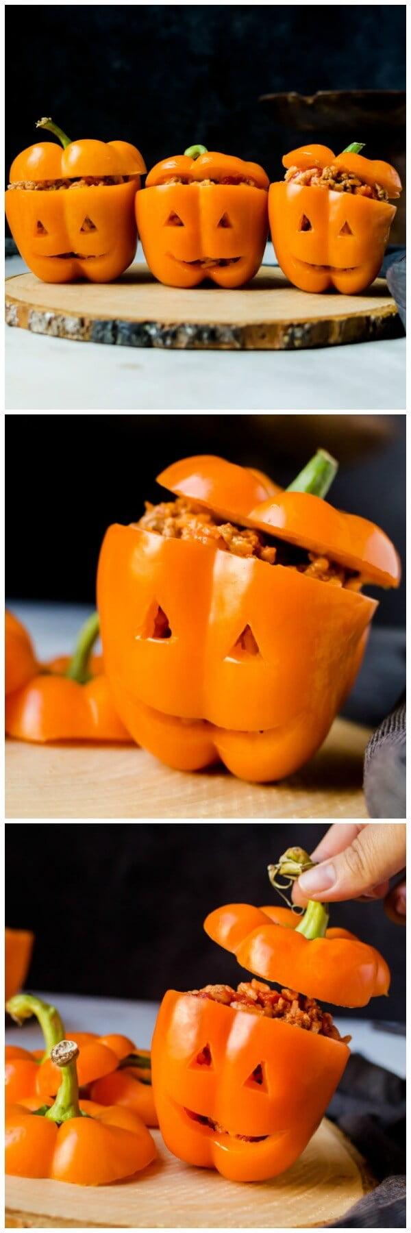 Halloween Stuffed Peppers Jack O' Lanterns