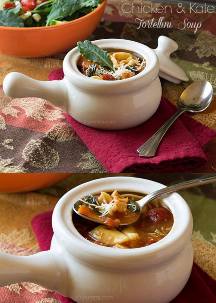 Get the recipe for a hearty chicken kale tortellini soup. It's filled with tender grilled chicken, cheese tortellini, crisp vegetables, and 100% baby kale