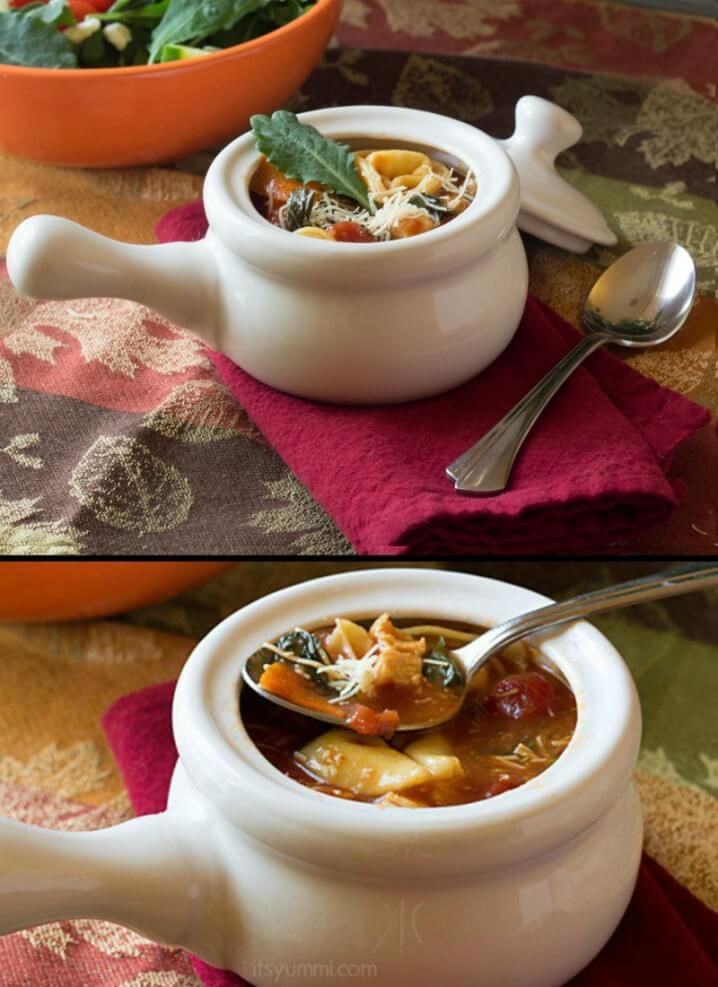 This hearty, broth-based soup is filled with pieces of grilled chicken, cheese tortellini, crisp vegetables, and 100% organic baby kale. It's comfort food in a bowl!