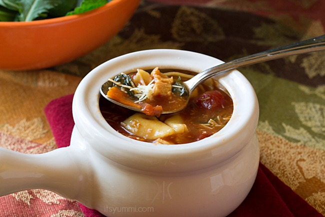 Comfort food in a bowl! Chicken & Kale Tortellini soup, featuring @organicgirl 100% baby kale from ItsYummi.com
