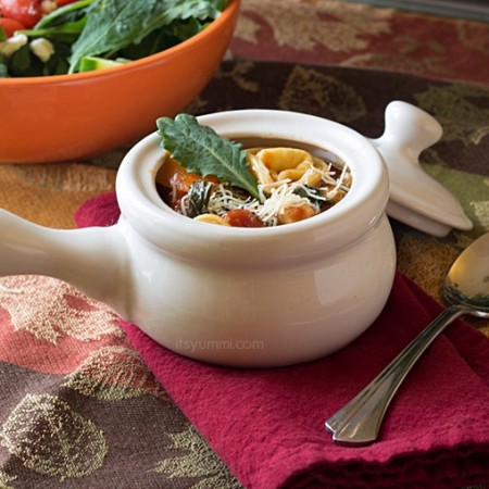 This hearty, broth-based chicken tortellini soup is filled with pieces of grilled chicken, cheese tortellini, crisp vegetables, and 100% organic baby kale. It's comfort food in a bowl!