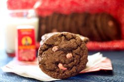 chocolate peppermint cookies with chocolate covered raisins