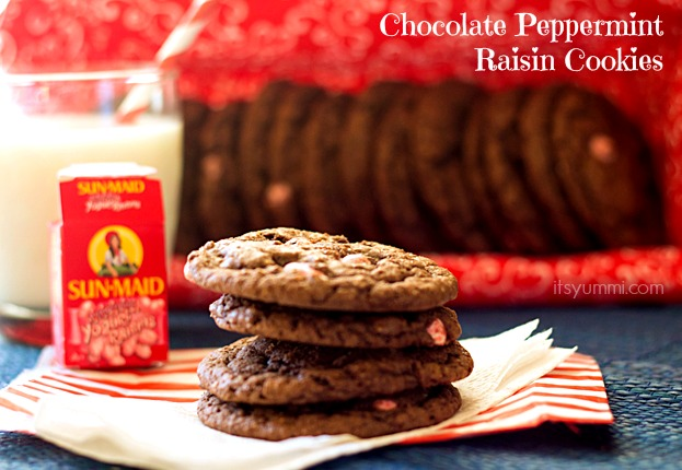Chocolate Peppermint Raisin Cookies