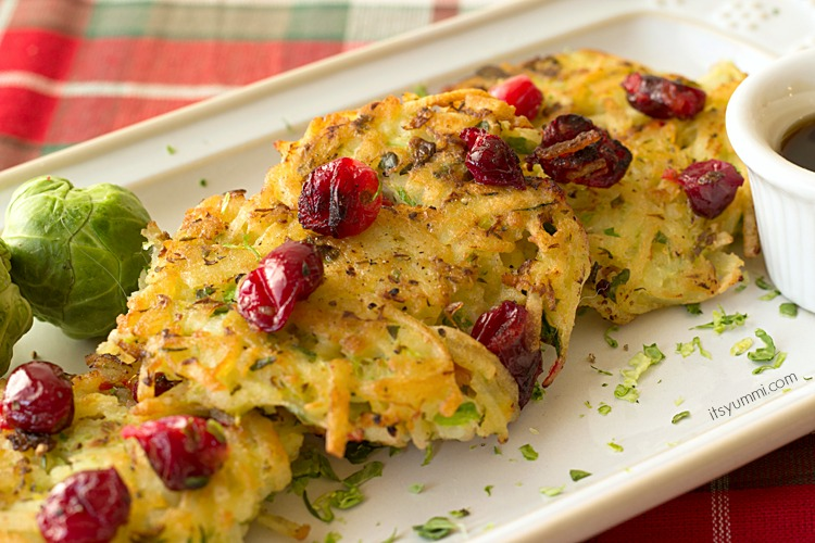 homemade potato pancakes topped with fresh cranberries