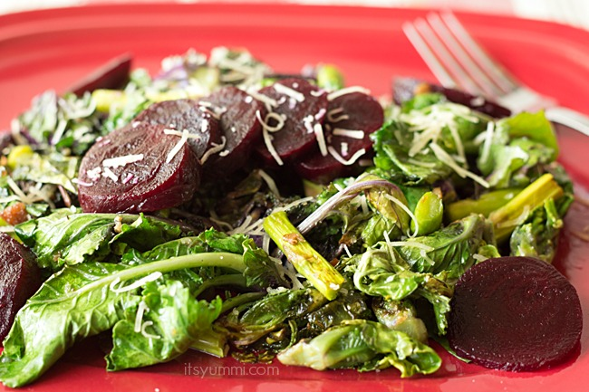 Kale Sprout Salad with Asparagus and Baby Beets