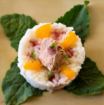 Skipjack Tuna Stack from ItsYummi.com - Skipjack tuna is stacked on top of lime infused rice, cucumber, and Mandarin oranges, then it's all drizzled with a delicious pomegranate reduction. Delicious as an appetizer, lunch, or light dinner.