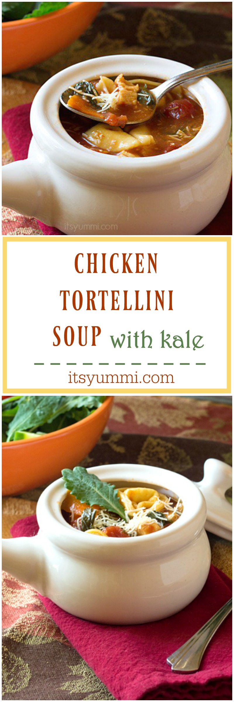 This hearty, broth-based chicken tortellini soup is filled with pieces of grilled chicken, cheese tortellini, crisp vegetables, and 100% organic baby kale. It's comfort food in a bowl! Recipe on itsyummi.com