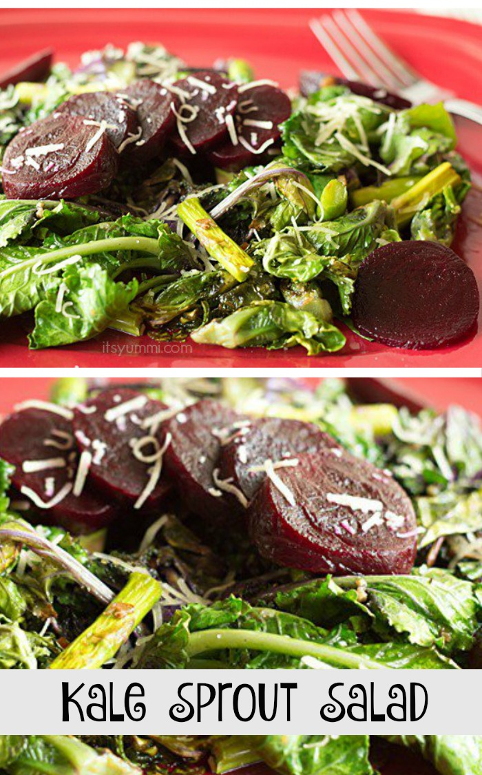 Kale Sprouts Salad - This healthy, delicious warm salad has crispy, crunchy sauteed kale sprouts, asparagus, crumbled bacon (because bacon makes everything better), ginger infused baby beets, and grated asiago cheese. Get the recipe at itsyummi.com