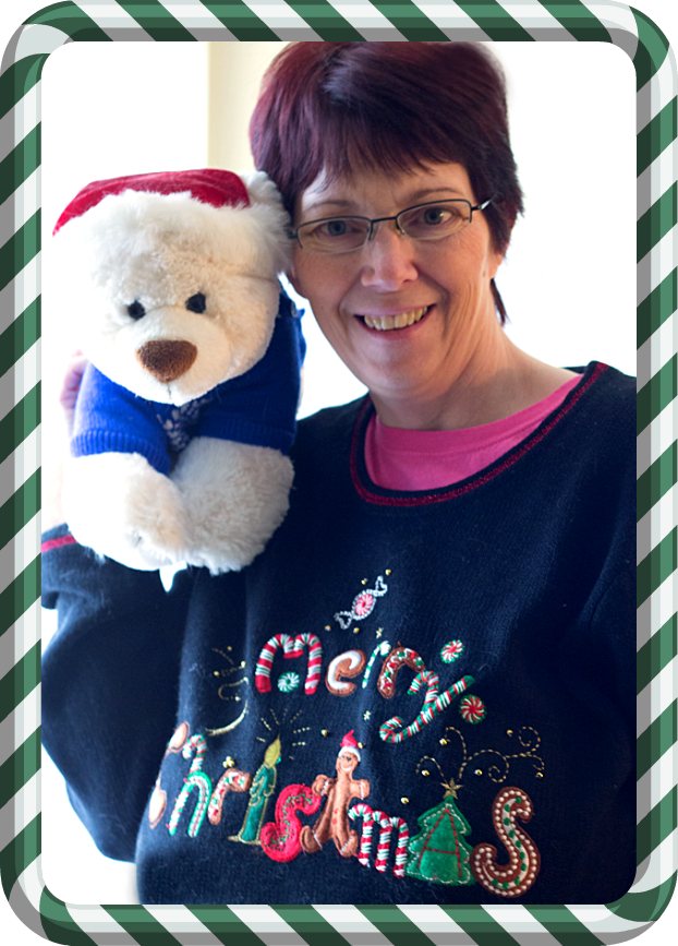 "Ad_Becca ""Boo"" and her Build-A-Bear friend, Buddy, wearing their corny holiday sweaters #GetCorny #cbias"