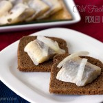 Old Fashioned Pickled Herring on pumpernickel bread