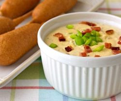Creamy Warm Bacon Cheddar Dip Recipe - Make a double batch of this party food, because everyone will be digging in to this dip!