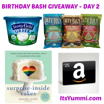 Chef Bec's 50th Birthday Bash Giveaway - Day 2  Enter to win prizes from Stonyfield, Late July, @iambaker, and an Amazon or PayPal gift card! (giveaway ends on Feb 1, 2014