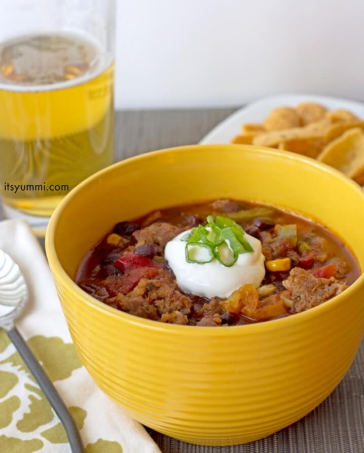 """Sweet and Spicy Bratwurst Chili Recipe - Just 5 cans and 15 minutes is all it takes to make this delicious """"dump and go"""" chili recipe. You can make it in a slow cooker, too!"""