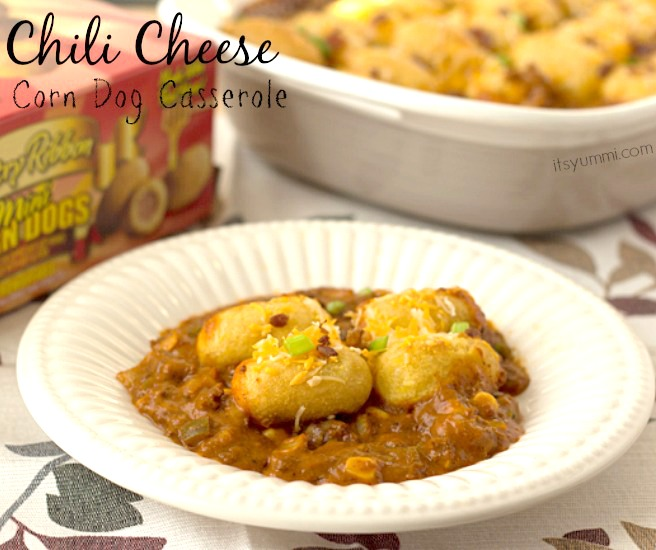 Chili Cheese Corn Dog Casserole - An easy and delicious dinner recipe