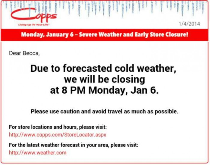 Copps weather notice posted on ItsYummi.com - store closing early due to severe cold weather in Wisconsin #MyCopps #shop #cbias