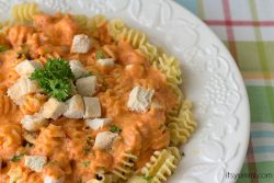 plate of chicken alfredo with roasted red pepper sauce