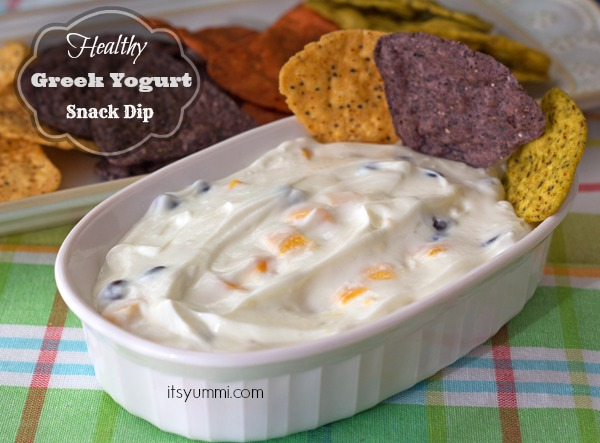 Healthy Caribbean Greek Yogurt Dip Recipe with Mango and Black Beans - A healthy snack recipe from @itsyummi