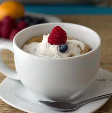 Low Carb Meyer Lemon Berry Mug Cake