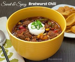 "Sweet & Spicy Bratwurst Chili from ItsYummi.com - 5 cans & 15 minutes to ""dinner's done""!"