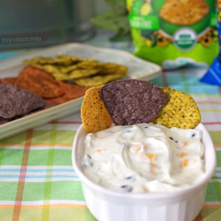 Caribbean Greek Yogurt Dip Recipe - Made with healthy Greek yogurt, black beans, and mango, this is a great snacking dip or game day party food! Gluten free, too.