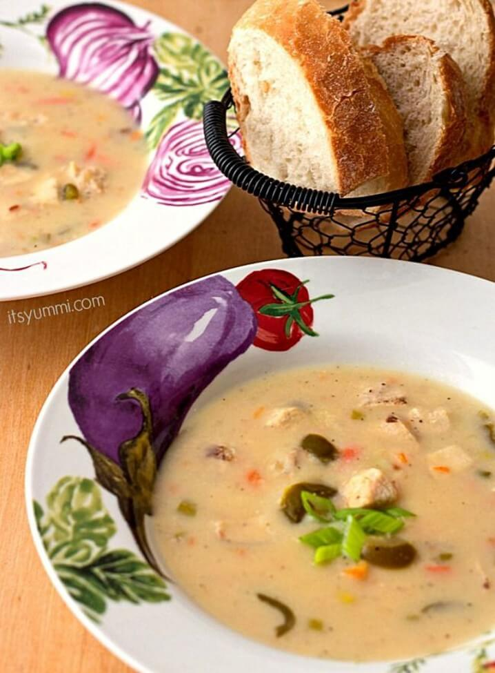 Jalapeno Chicken Beer Cheese Soup Recipe for the Slow Cooker - This soup will warm you up even on the coldest of days!