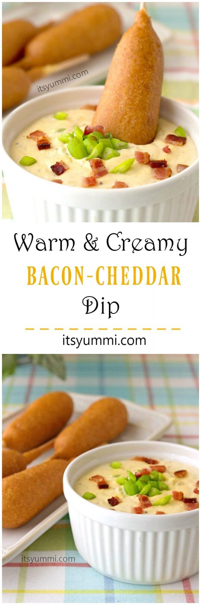 Warm bacon cheddar dip will be the hit of your game day parties! Takes just 5 minutes to make this snack dip. - Recipe on itsyummi.com