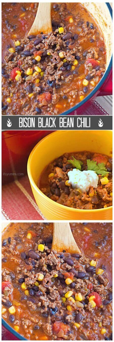 Bison black bean chili is like no other chili you've had before! Lean, iron-rich bison is cooked slowly with dark red wine and several layers of spices, bulgur, and fiber-rich black beans to create a healthy and delicious chili! Recipe on itsyummi.com
