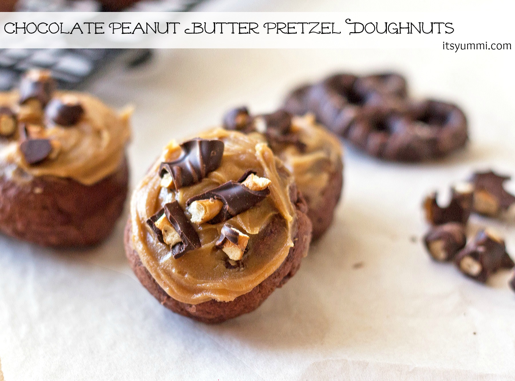 Chocolate Peanut Butter Pretzel Doughnuts from ItsYummi.com ~ bite-sized for portion control!