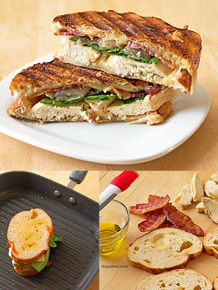 Easy Recipe for Grilled Chicken Panini with bacon and caramelized onions from ItsYummi.com #shop