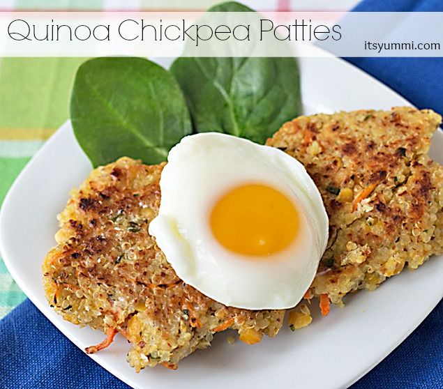 Quinoa Chickpea Patties on a white plate with poached egg