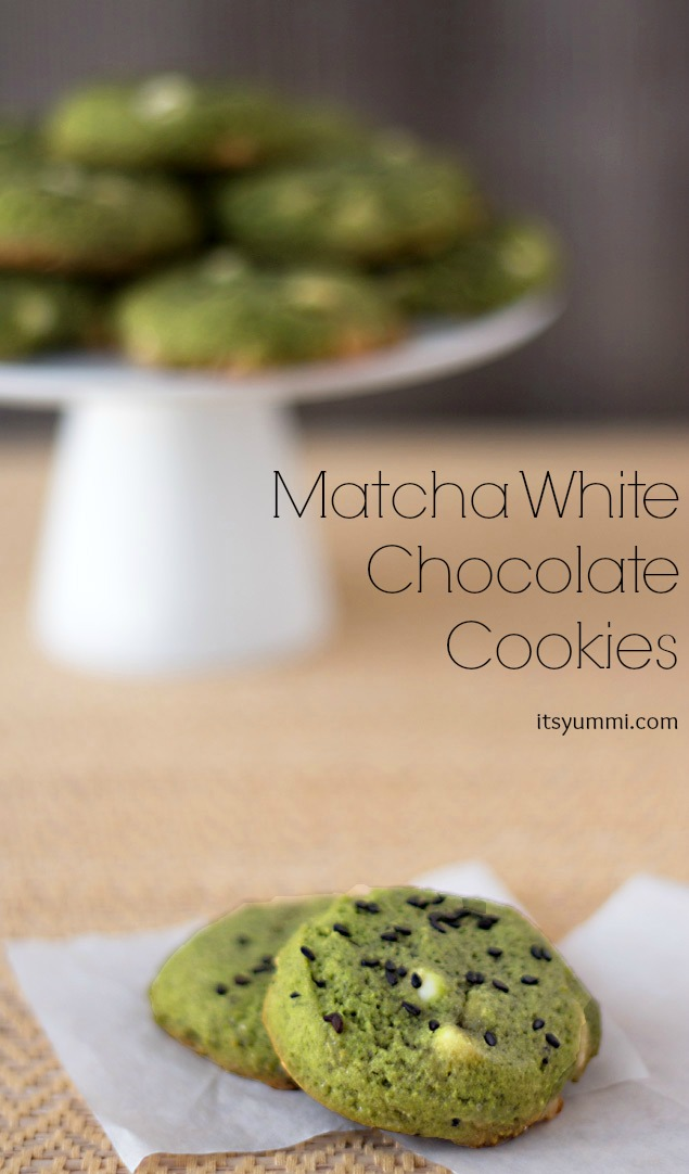 Recipe for White Chocolate Matcha Cookies - a soft, slightly chewy, mildly sweet sugar cookie - Get the recipe from ItsYummi.com