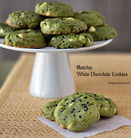 Recipe for Matcha White Chocolate Cookies ~ ItsYummi.com