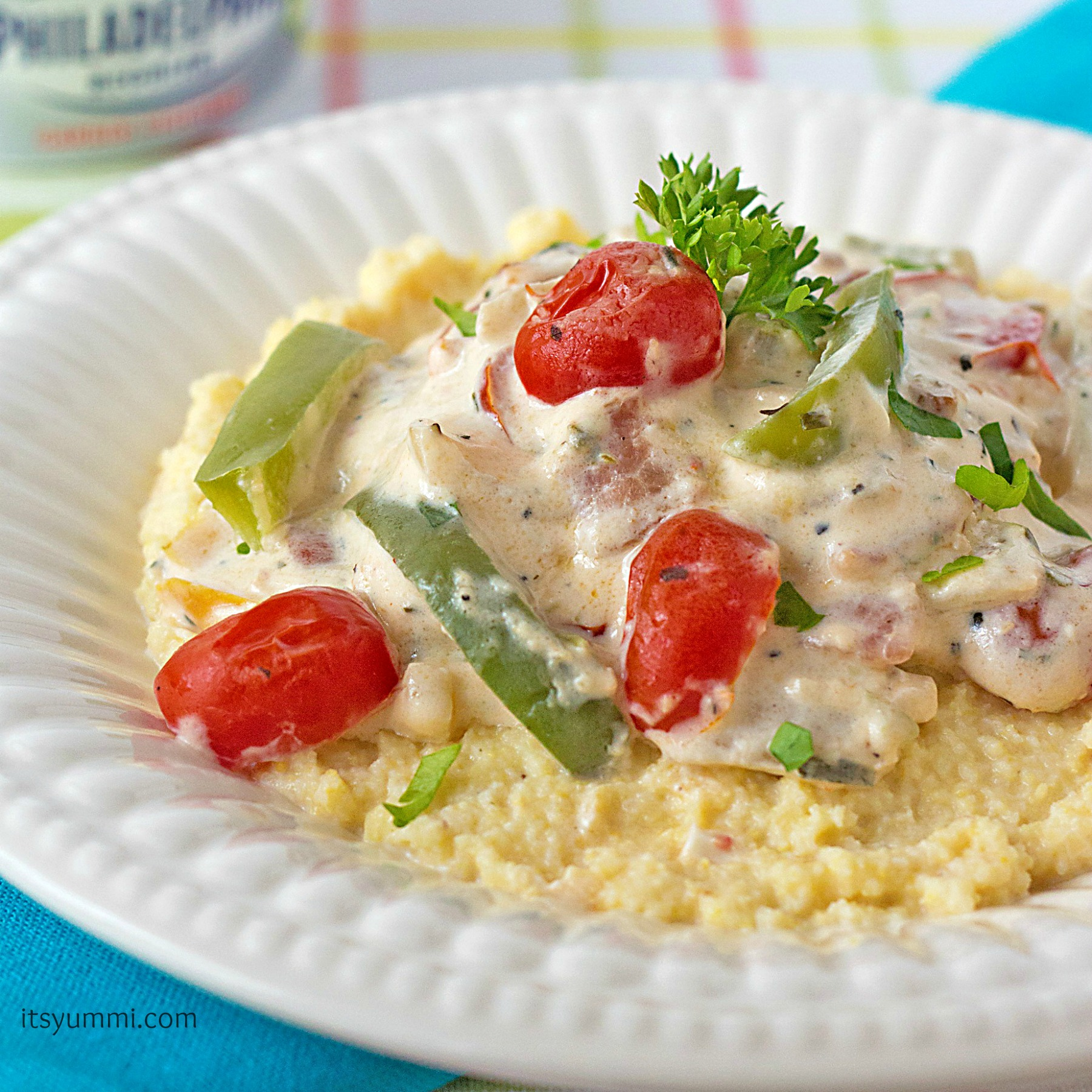 Roasted Tomato Skillet with Philly Veggie Cream Cheese Sauce from itsyummi.com #SpreadTheFlavor #shop