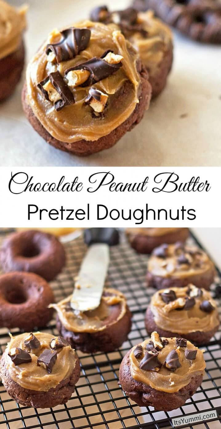 Chocolate Peanut Butter Pretzel Doughnuts - Get the recipe on itsyummi.com