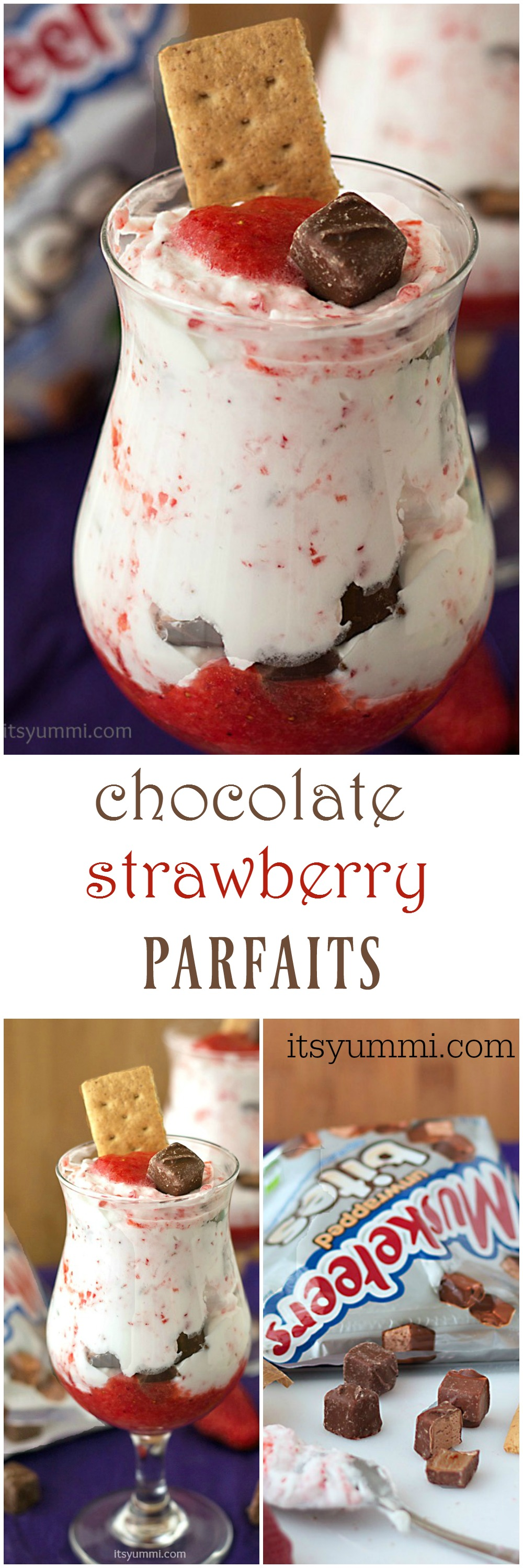 Chocolate Strawberry Candy Bar Parfaits - An easy to make dessert with layers of strawberry fool, homemade whipped cream, and candy bars.