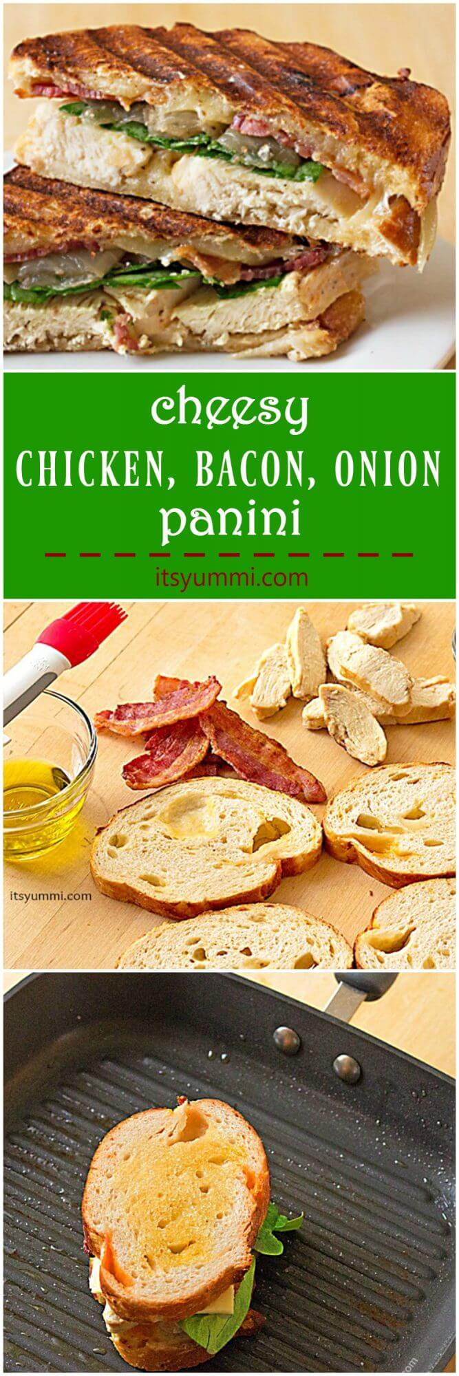 grilled chicken bacon onion panini sandwich its yummi cheesy grilled chicken panini sandwich crispy bacon caramelized onions baby spinach and