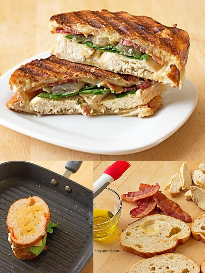 Grilled Chicken Panini Sandwich - With grilled chicken, bacon, baby spinach, and caramelized onions, this is a sandwich recipe you won't soon forget!