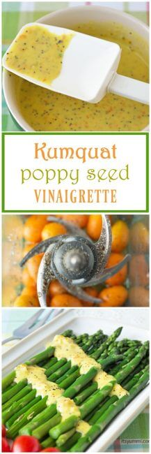 This kumquat poppy seed vinaigrette dressing has fresh kumquats for a tart-sweet flavor and a burst of color. It's perfect drizzled over salads, vegetables, grains, poultry, or even fish.