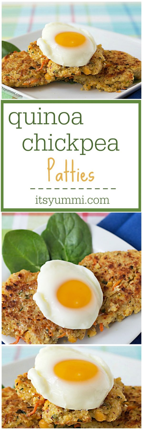 Healthy Recipe ~ Quinoa Chickpea Patties - Full of protein, fiber, and flavor! They're perfect for Meatless Monday. 3 Weight Watchers points per patty! Vegetarian, gluten free, and dairy free. #sidedish #vegetarian #weightwatchers