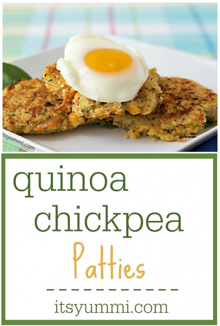 Quinoa Chickpea Patties topped with a poached egg - titled image