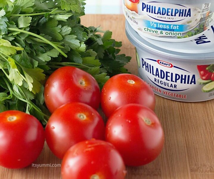Ingredients used to make a roasted veggie skillet dinner recipe