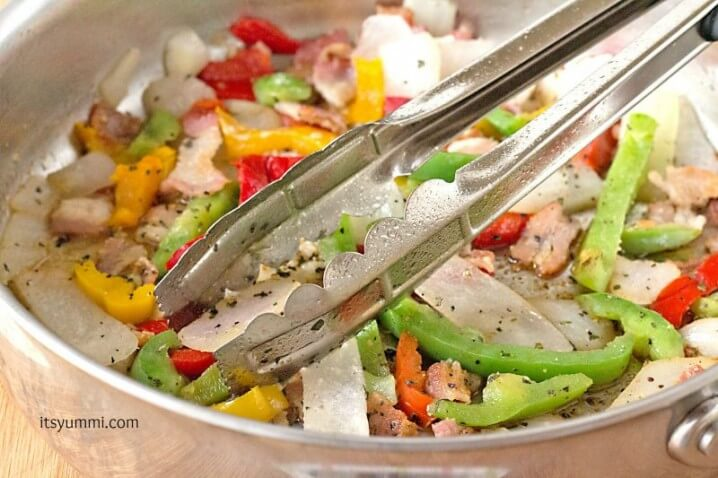 Roasted Veggie Skillet Dinner Recipe - sauteeing veggies