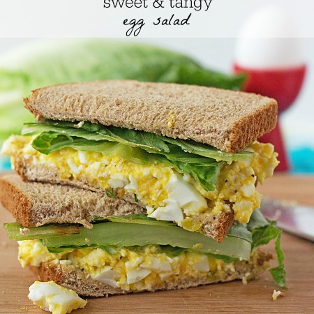 This tastes amazing! Sweet 'n Tangy Egg Salad Sandwich Recipe ~ from ItsYummi.com #lowcarb #lowfat #ItsYummi